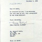 December 1 1980 - Indora Gandhi Autograph English Letter Autograph